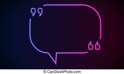 Quote speech bubble abstract laser neon frame motion background. Video animation Ultra HD 4K 3840x2160