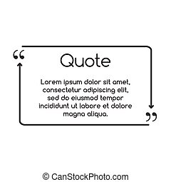 Quote speech frame for text with arrows. Text box vector illustration isolated on white background.