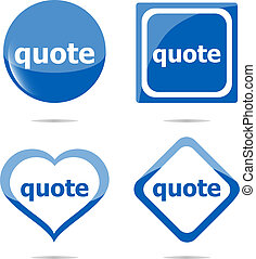 quote stickers label tag set isolated on white