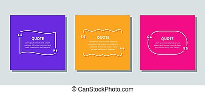 Quote text box. Template frame quotations. Vector color illustration.