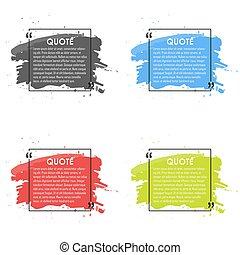 Quote text bubble. Commas, note, message and comment. Design...
