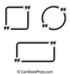 Quote text frame set round, square, rectangular design elements, mark area, idea description
