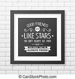 quote., typographical, amitié, poster.