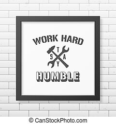 Quote typographical Background in realistic square black...