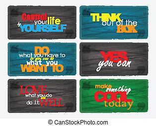 quotes., de motivación, conjunto