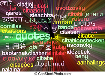 Quotes multilanguage wordcloud background concept glowing - ...