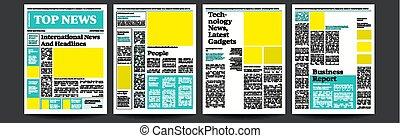 quotidien populaire, mockup, breaking., template., magazine, papier, illustration, vector., journal, nouvelles, article., page