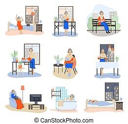 quotidiennement, schedule., routine, femme, vieux, set..
