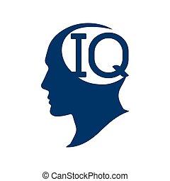 quotient., silhouette, illustration., q.i., intelligence, tête, vecteur, humain