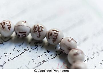 quran, öppnat, helig