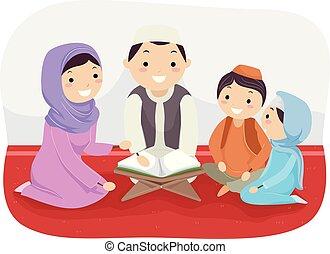 quran, 勉強しなさい, stickman, 家族, イラスト
