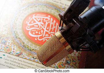 quran and microphone recite Islamic holy book arabic