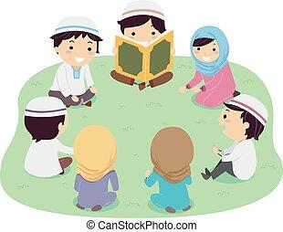 quran, bambini, stickman, lettura, illustrazione