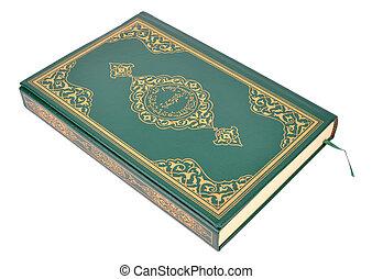 quran, biały, książka, odizolowany, święty