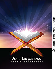 quran book - vector holy book of quran background
