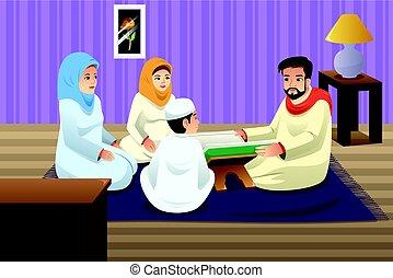 quran, estudar, muçulmano, família home