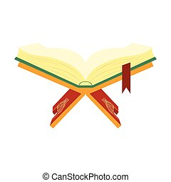 Quran, holy book of Muslims on a wooden book stand. Colorful vector illustration