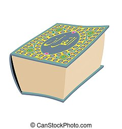 Quran Islamic holy book isolated. Koran Big Muslim volume oriental pattern
