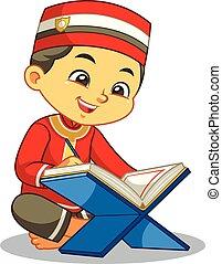 quran, lectura chico, musulmán