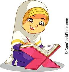 quran, lectura de la muchacha, musulmán