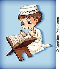 quran, musulmán, lectura chico