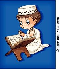 quran, niño, musulmán, lectura