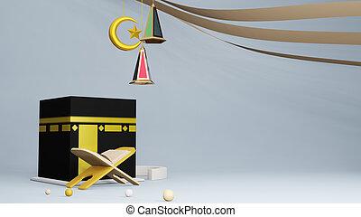 Quran or koran and Kaaba in Masjid Al Haram concept of islamic celebration eid al adha or hajj 3D illustration. 3D rendering