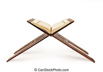 quran, ouvert,  stand