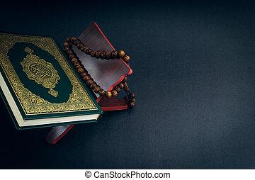 quran, pisemny, kaligrafia, treść, aluminium, tasbih, albo,...
