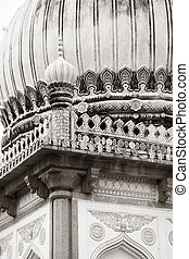Qutb Shahi tombs architecture in monochrome