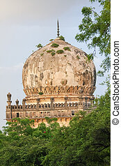 The tombs of the seven Qutub Shahi rulers in the Ibrahim Bagh (garden precinct) close to the famous Golkonda fort in Hyderabad, India