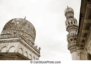 Qutb Shahi Tomb minars in sepia color tone