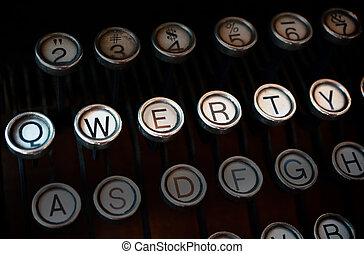Qwerty typewriter - Antique typewriter, focus on QWERTY keys...