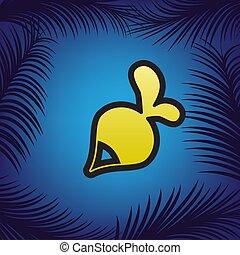 rábano, simple, signo., vector., dorado, icono, con, negro, contorno, en, bl