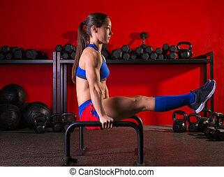 rács, nő, tornaterem, parallettes, párhuzamos, tréning