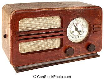 rádió, öreg, kapcsoló
