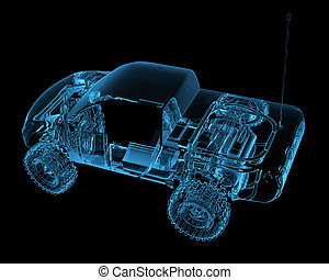 rádió, ellenőrzött, r/c, apró autó, (3d, xray, kék, transparent)