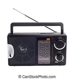 rádió, fekete, elszigetelt