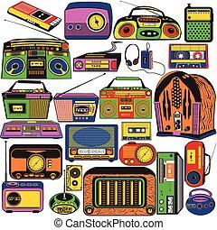 rádio, cassete, colorido, ícones