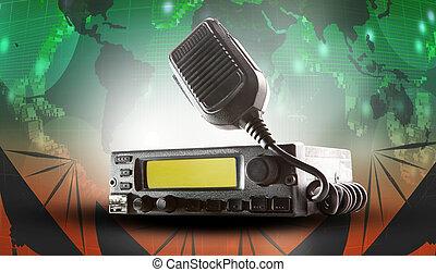 rádio cb, transceptor, estação, e, orador alto, prender, ar,...