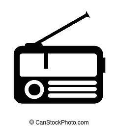 rádio, desenho, ilustração, ícone