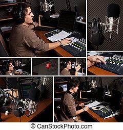 rádio dj, estúdio, cobrança, homem