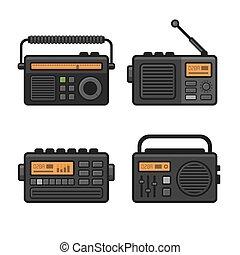 rádio, ikona, set., vektor