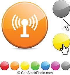 rádio, lustroso, button.