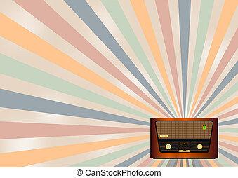 rádio, retro, fundo