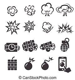 ráfaga, conjunto, icono