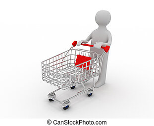 rámenős, bevásárlás, üres, kordé, ember