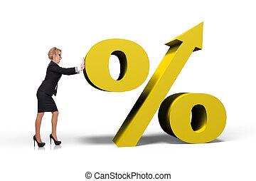 rámenős, százalék, üzletasszony