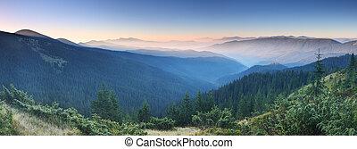 ráno, do, hory