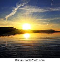 ráno, jezero, krajina, s, východ slunce
